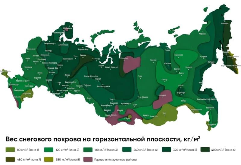 Карта снегового покрова России