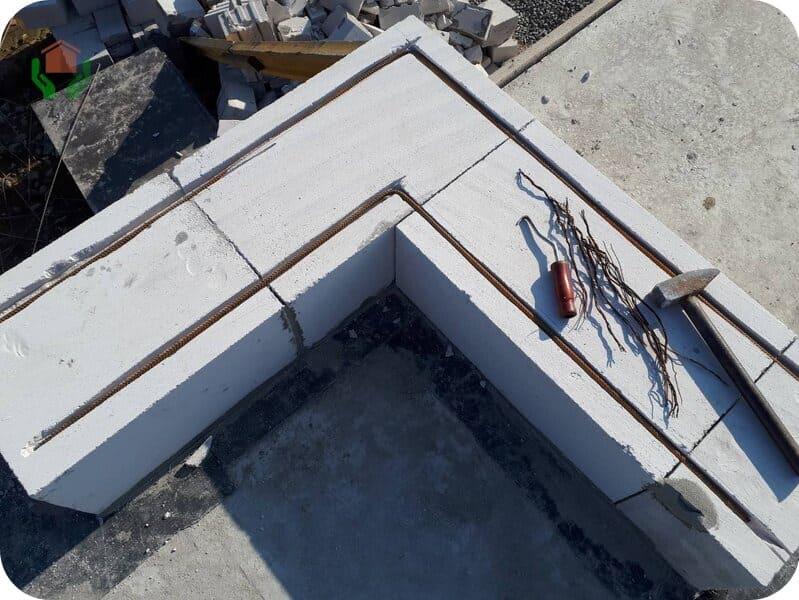 Двухрядное армирование стены 375 мм