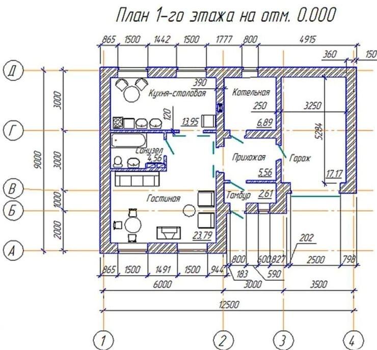 План этажа с размерами проёмов