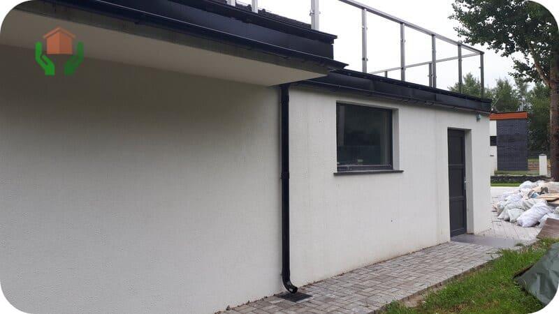 Газоблочный дом с гаражом и эксплуатируемой крышей