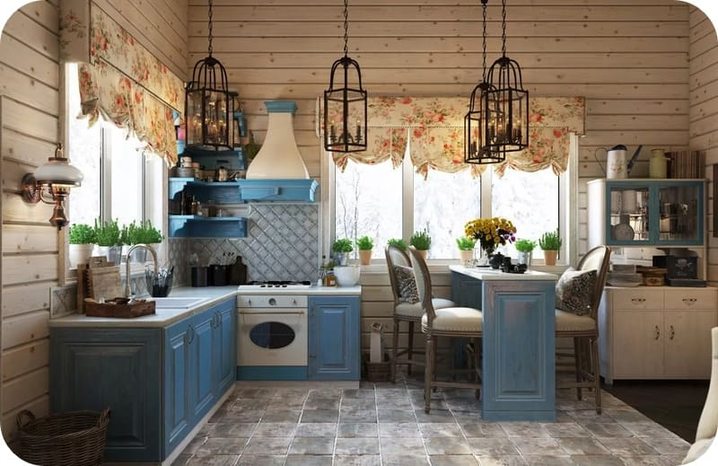 Кухня в стиле прованс с обшивкой стен вагонкой