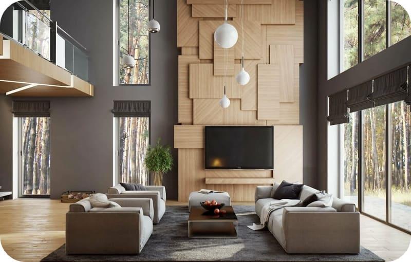 Декор из ЛДСП отлично смотрится на фоне серых стен и перекликается по цвету с напольным покрытием