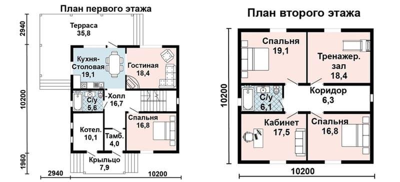 Планировка этажей практически идентичная, перегородки можно отдельно не считать