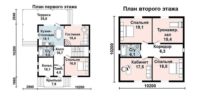 Планировка этажей отличается, в мансарде перегородок больше и они имеют переменную высоту