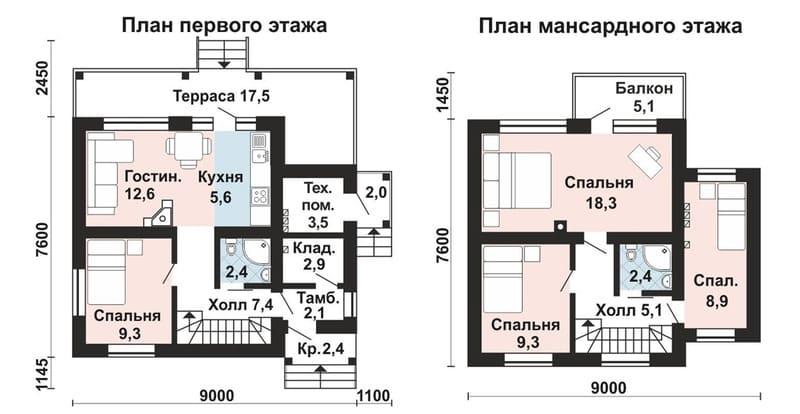 Планировка дома 9*8 с мансардой
