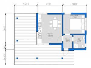 чертеж дома с плоской крышей