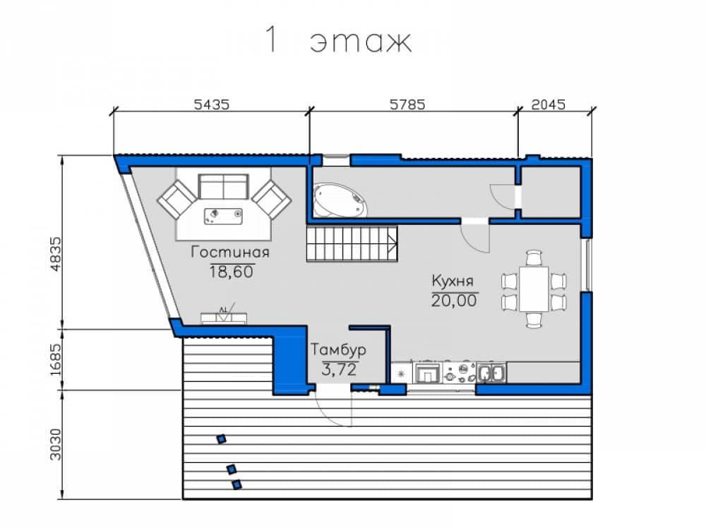 чертеж двухэтажного плоского дома