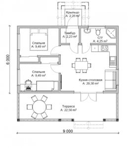 чертеж дома с классической скандинавской крышей