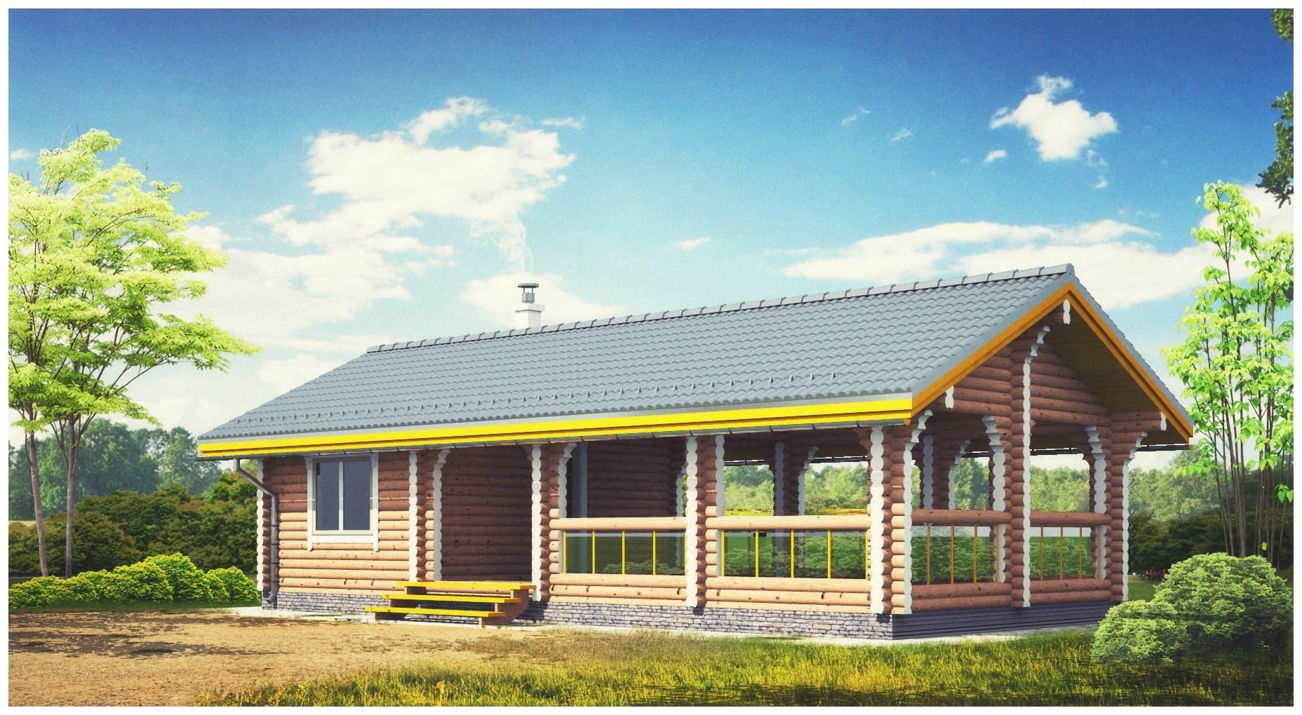 баня с верандой под одной крышей: проекты, фото