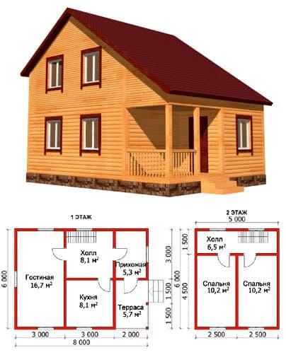 Дом из бруса для средней семьи