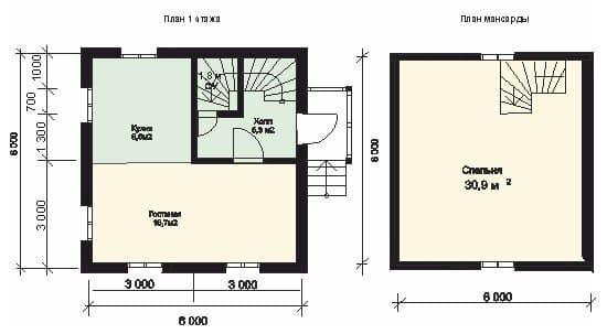 Стандартная планировка двухэтажного дома из бруса