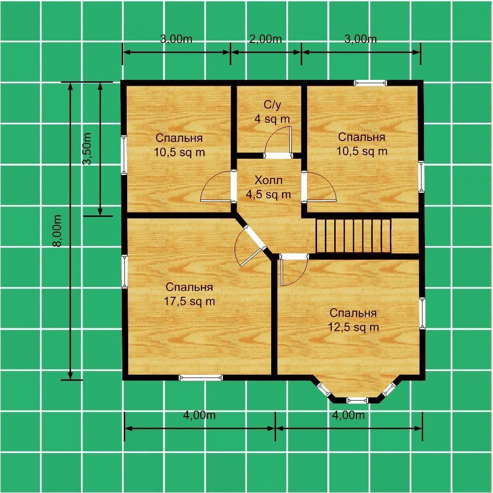 План каркасного дома 8 на 8