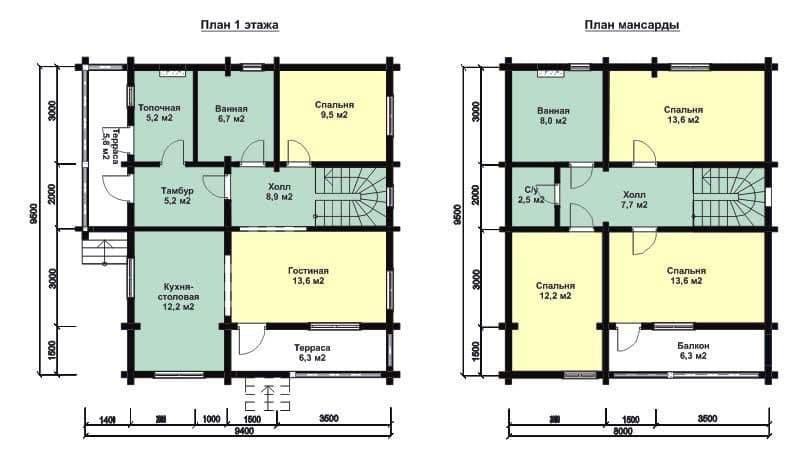 Планировка дома из бруса с разделением на зоны с мансарой