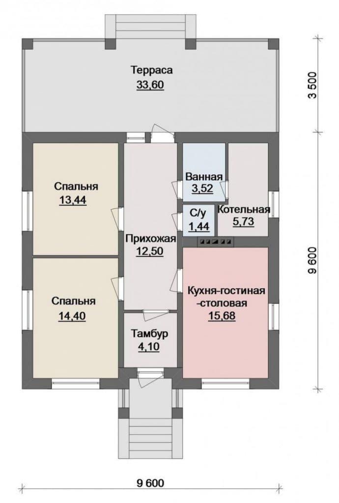 Планировка дома из бруса с двумя входными группами