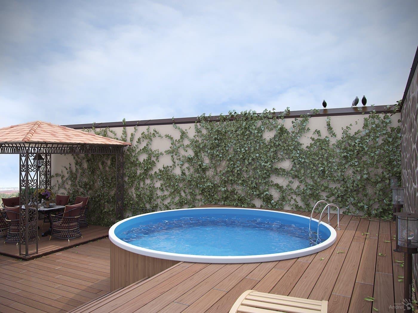 терраса с бассейном
